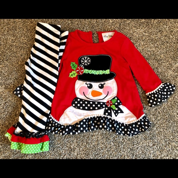 Rare Editions Little Girls Red White Polka Dot Snowman 2 Pc Pant Outfit 2-4T